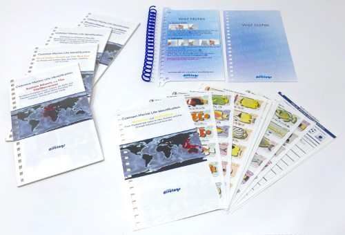 Just choose the regional set you need before your dive trip and swap it into our reusable wet note system.