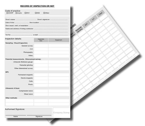 Record of inspection log sheets