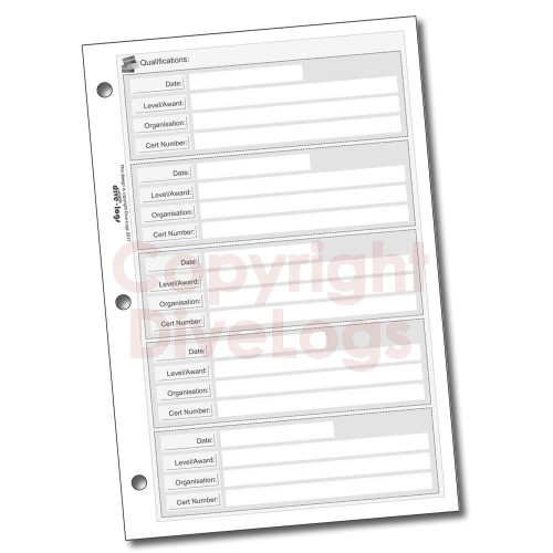 Scuba Qualifications Dive Log Refill Page - black and white version