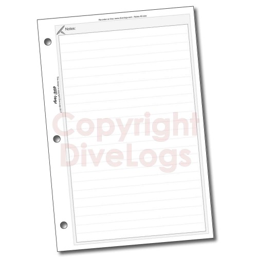 Dive Logs Notes Refill Page - black and white version