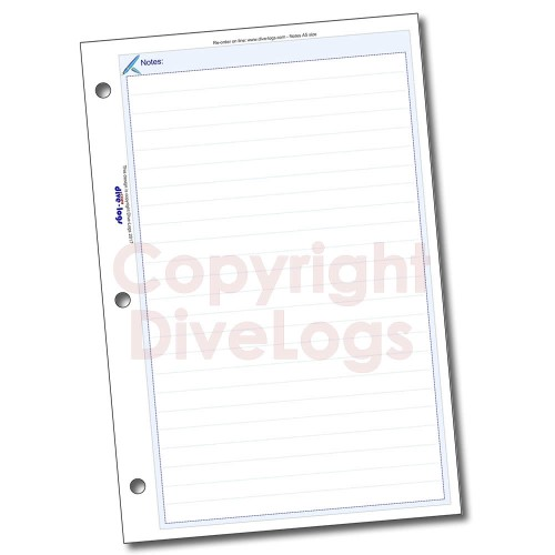 Dive Logs Notes Refill Page - full colour print version