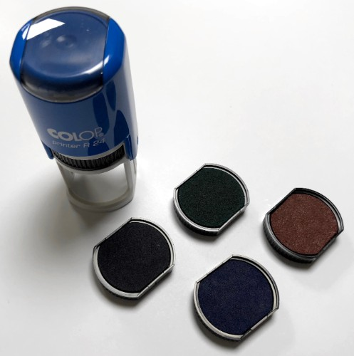 Red, Blue, Green, Violet, and Black ink pads for the Auto Stamp R24