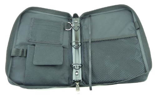 Standard features include tough but light fabrics, 3-ring mechanism, pen holders, key rings, mesh pockets and velcro pockets