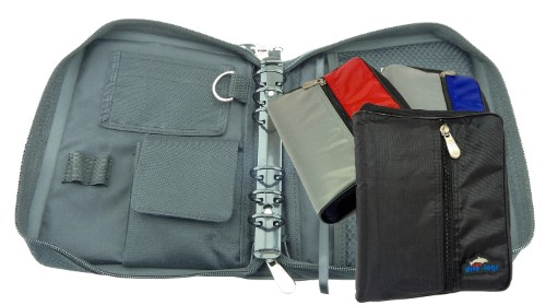 Our compact binder has lots of pockets inside and out