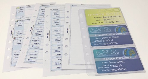 The dive log starter pack includes our extra pack shown here in full colour print option