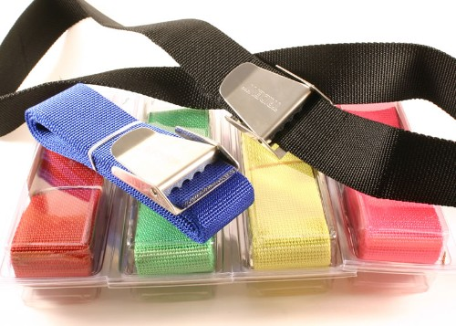 Scuba weight belts (available in Red, blue, green, pink, black, and yellow)