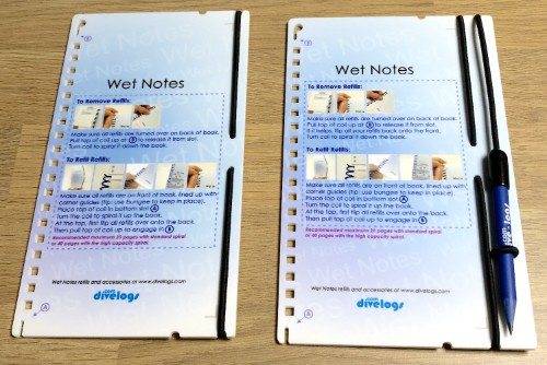 The wet notes backing slates come with the integrated bungee retainers and are available in 3mm and 5mm versions.