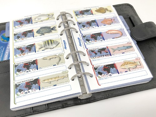 The filofax version of the fish id pages has a special version and placement of the sightings box to create the best balance between the species information and your notes.