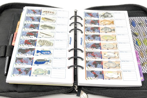 Our 6-ring compact dive log binder version. These are compact but still have space on the side for your notes and sightings.