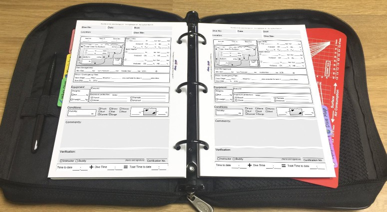 Technical Dive Log (GUE) Shown with metric units in the binder.%>