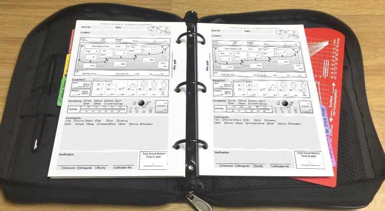 Standard (dive table focused) Dive Log Refill Shown with metric units in the binder.%>