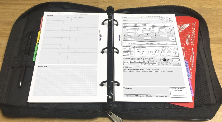 Nature (table focused) dive log refill Shown with metric units in the binder.%>