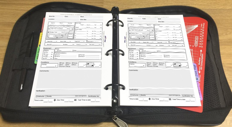 Closed Circuit Rebreather (CCR) Dive Log refill Shown with metric units in the binder.%>