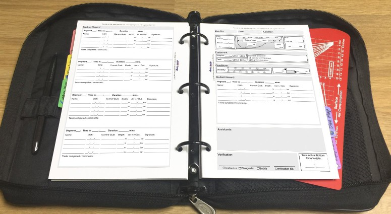 Expanded Scuba Instructor dive log refill Shown with metric units in the binder.%>